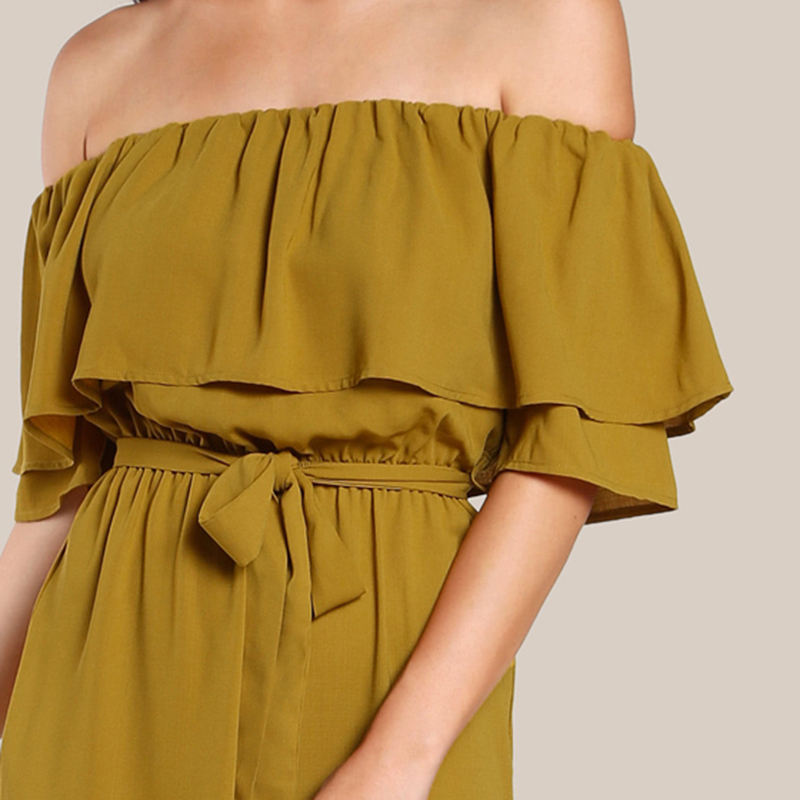 COLROVIE Sexy Flounce Culotte Jumpsuit Women Off Shoulder Self Tie Yellow Jumpsuits 2017 New Ruffle Half Sleeve Elegant Jumpsuit 9