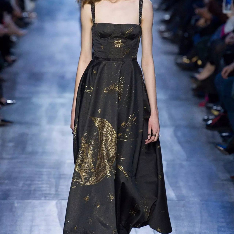 Nouveau printemps kaki lune étoiles robe de bal longue fil d'or brodé robe.