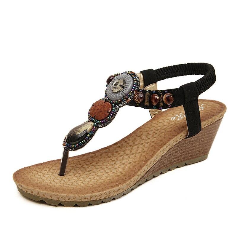 Gladiator Bohemian High Heels Wedges Sandals Women Shoes Comfort Slope Flip-flops Slippers 2018 Summer Flats Beaded Shoes Casual