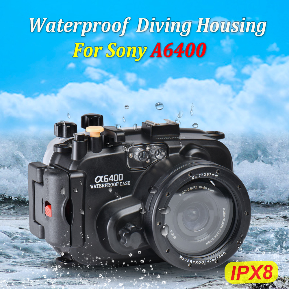 Seafrogs 130ft/40m Waterproof Underwater Housing Camera Diving Case for Sony A6400 Camera Bag Case Cover