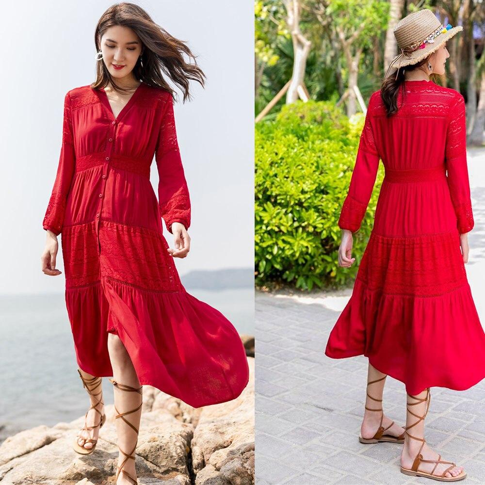 Nouveau À Manches Longues Rouge V Cou Évider Style Bohème Robes D'été Maxi Plage Robe de Vacances Avec Bouton De Mode Dames robe d'été