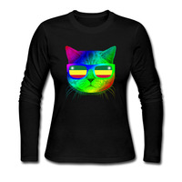 Tee Shirts Femme Colorful Jamaica Flag Kitty And Meowica Glasses Women Tshirt Fashion 2017 Cotton Print