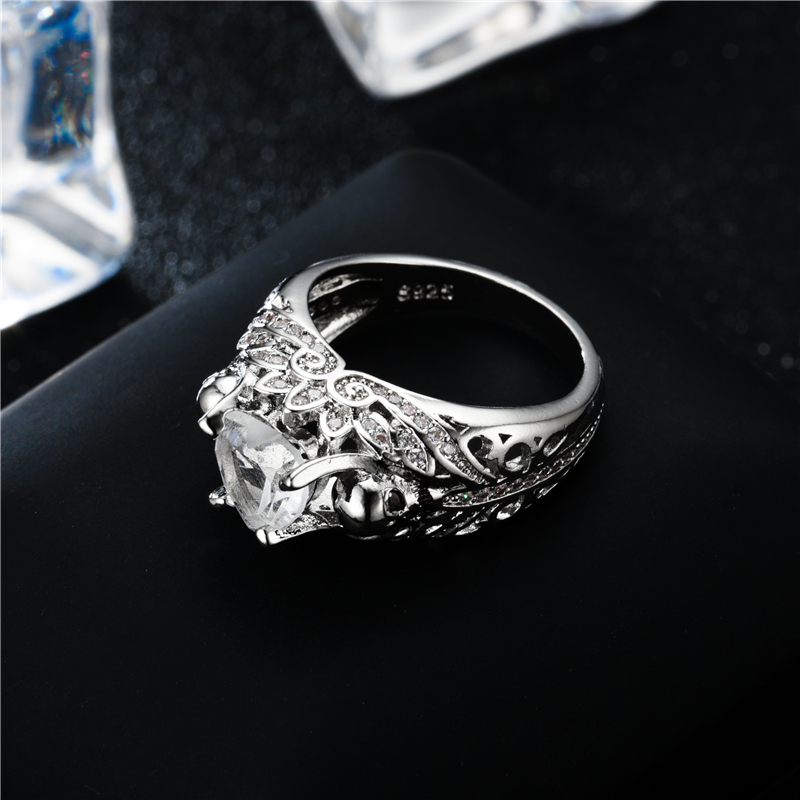 Vintage Skull Heart CZ Stone black Ring for Women Fashion Jewelry Wedding Gift 1