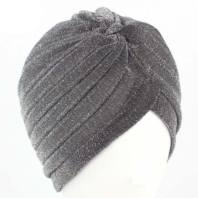Aproms Women Bling Silver Gold Knot Twist Turban Headbands Cap Autumn  Winter Warm Headwear Casual Streetwear b300505da62e