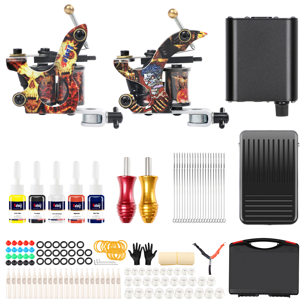2018 Beginner 2 Pro Machine Tattoo gun Kit 5 color ink set Complete Tattoo Machine Kit  Grips Kits Permanent Makeup2018 Beginner 2 Pro Machine Tattoo gun Kit 5 color ink set Complete Tattoo Machine Kit  Grips Kits Permanent Makeup
