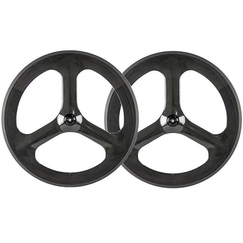 High Tg 3 Spoke Bike 700C Clincher Taiwan Fixie Bicycle Aero Fixed Gear Carbon Wheel 700C Carbon 3 Spoke Wheel Road Bike Wheels