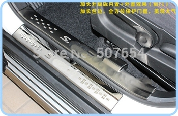 Higher star stainless steel 8pcs(4inside+4outside)car door sills scuff plate,pedal protection bar for Suzuki S-cross 2014-2017