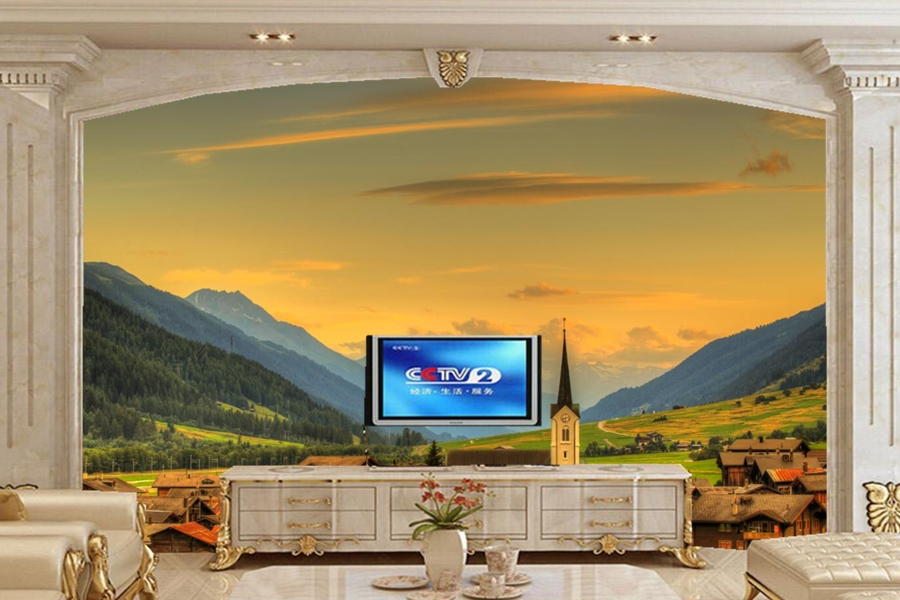 Custom 3d mural,papel de pared Switzerland Houses Sky Mountains nature wallpaper,bar living room sofa TV wall bedroom wall paper custom baby wallpaper snow white and the seven dwarfs bedroom for the children s room mural backdrop stereoscopic 3d