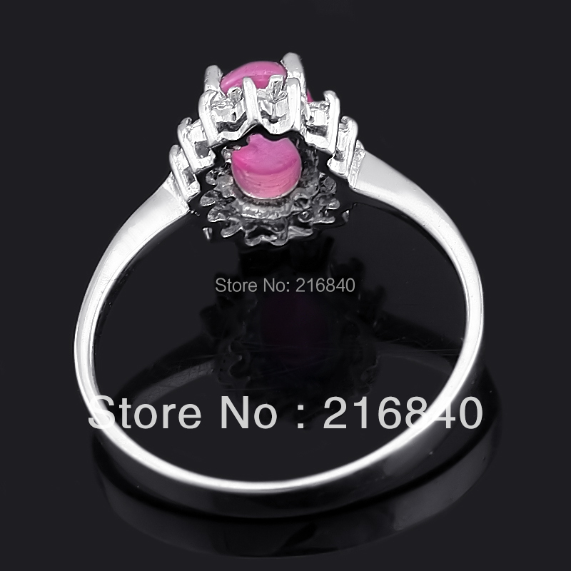 Natural Pink Ruby Ring Egg Cut In 925 Sterling Silver Fancy Sapphire Jewelry Fashion Elegant Birthstone SR0564R
