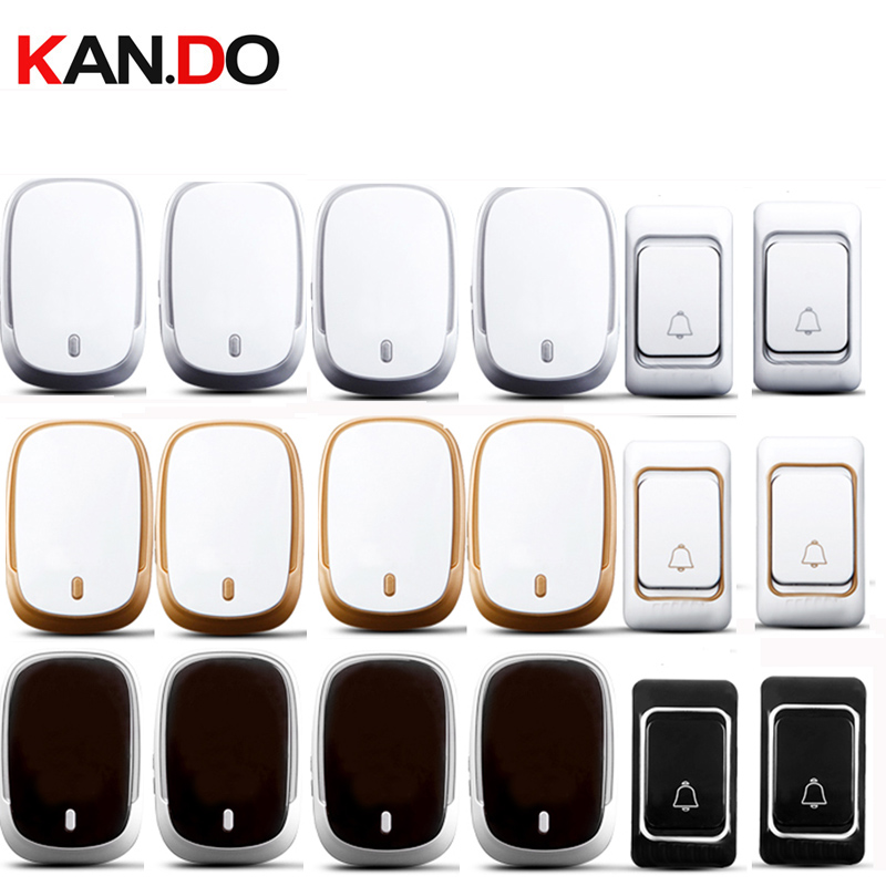 цены white black golden RING 2 emiter 4 receivers wireless door bell set by 110-220V doorbell Waterproof 300M door chime door ring
