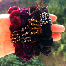 Korea Multi-color Basic Hair Accessories For Girls Velvet Crystal Elastic Band Rubber band Ties Gum for