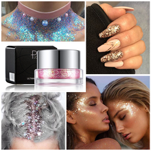 Pudaier 34 Color Glitter Eyeshadow Sequins Gel Sparkly Eye Makeup Shiny Body Sequins Nails Art DIY Shadow Pallete Easy to Handle