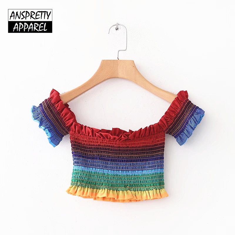 Anspretty Apparel colorful striped sexy crop top bustier women off shoulder elastic boho top stretch bodycon ruffle tops