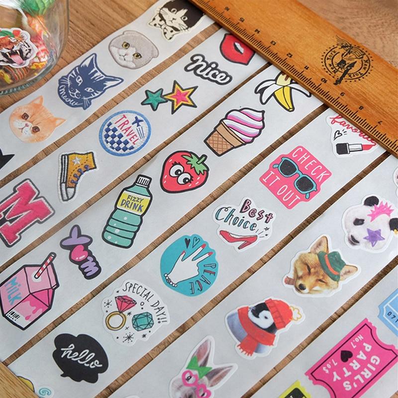 80-84Pcs/lot Cute cartoon animal cake Sticker tape DIY decorative scrapbooking sticker planner masking adhesive tape japan imports midori planner calendar decorative stickers cute animal 5pcs