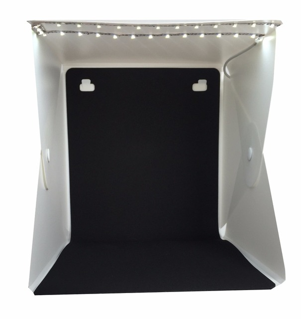 Cool Stuff New Design Fixed by Button 2 LED Line Mini Lightbox Studio Photo Photography Tent Kit with Black White Backgrond USB LED light 3