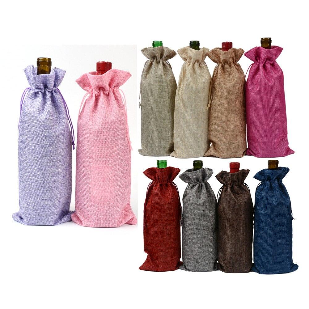 Navidad yute botellas de vino bolsas de regalo bolsas de vino - Para fiestas y celebraciones - foto 2