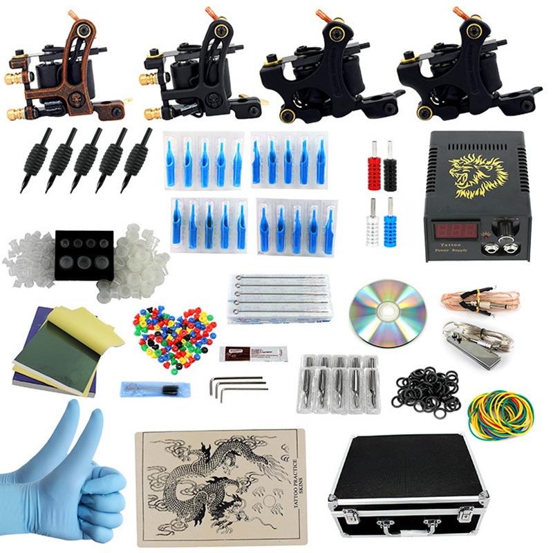 Complete profession Tattoo kits 10 wrap coils 4 guns machine Tattoo needles set power supply disposable needle Foot pedal p80 panasonic happy shopping complete air cutter torches a machine complete torch 4 meter