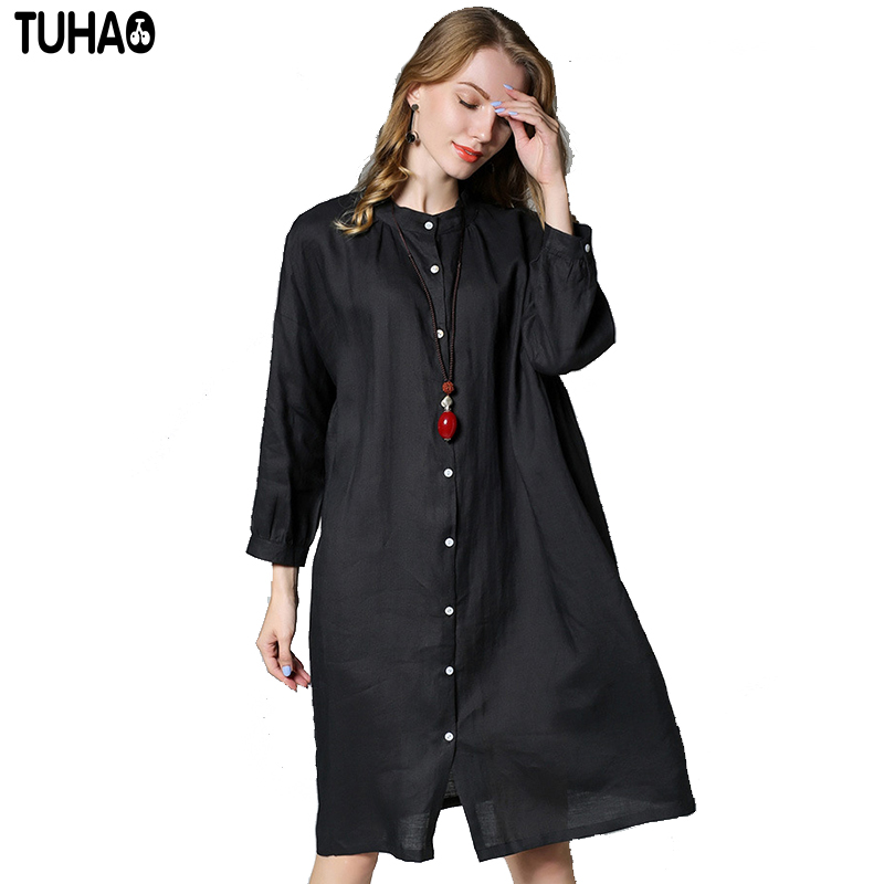 TUHAO Chinese Style Cotton Linen Women s Blouse Large Size 4XL Long Loose  Shirts Female Solid Color Swing Comfortable Shirt JR20-in Blouses   Shirts  from ... 03b183618
