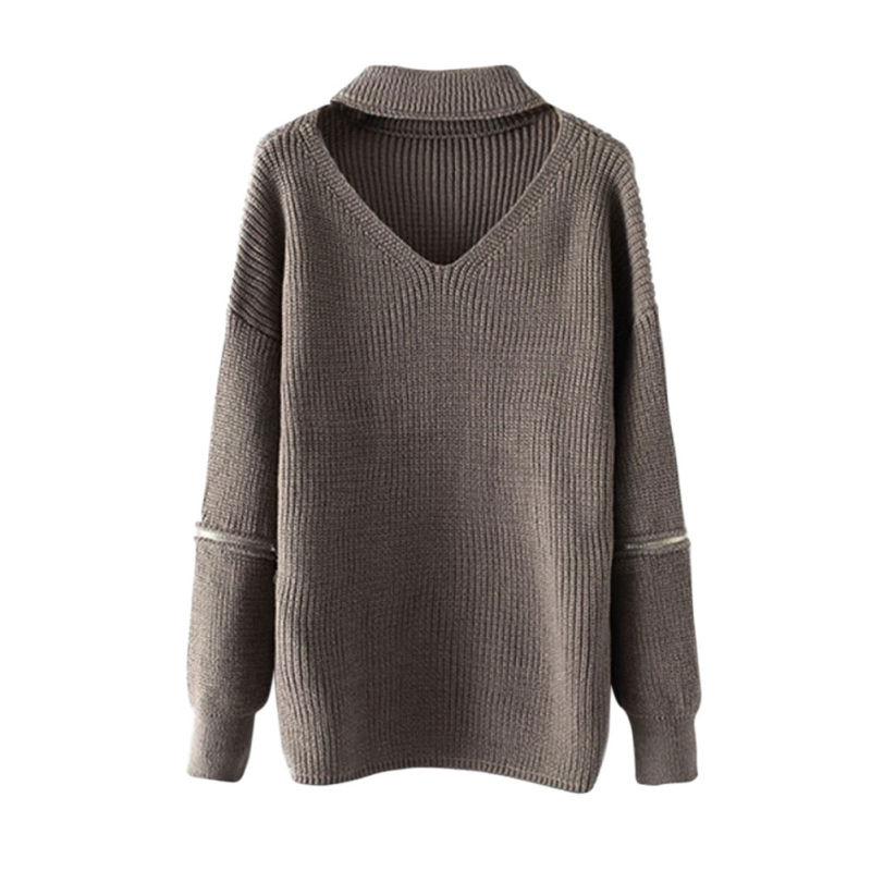 Autumn Women Sweatshit and Pullovers Korean Style Long Sleeve Casual Halter Tops Solid Knitted Zipper Decoration Tops