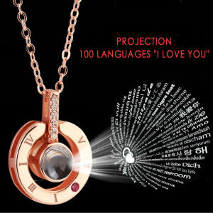 New Rose Gold Silver 100 Languages I Love You Projection Pendant Necklace Romantic Love Memory Wedding Necklace Dropshipping