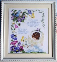 Fishxx Cross Stitch Kit T048 Character Series Angel Baby DIY Birthday Letter Decorated Flower And Bird