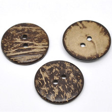 20Pcs/lot New Natural Coconut Shell Sewing Buttons Brown Round 2 Holes DIY Clothes Coat Ornaments Scrapbook Making Findings 38mm