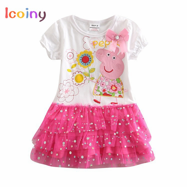 Girls Pink Pig Dresses Cotton Short Sleeve Dresses Kids Clothes Casual Party Bowtie Dress Tutu Dresses Mesh For Girls Vestidos star dress for girl european style bow tutu dress long sleeve mesh girls dresses leisure holiday kids clothes pink black