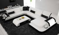 Бесплатная доставка в Роттердам! Современный дизайн U форма geniune кожаный диван с журнальным столиком, гостиная диван
