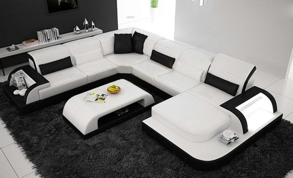 free shipping delivery to Rotterdam!! modern design U shape geniune leather sofa with coffee table, living room couch european laest designer sofa large size u shaped white leather sofa with led light coffee table living room furniture sofa