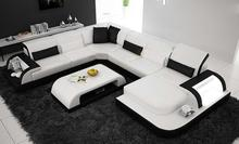 цена на free shipping delivery to Birmingham UK!! modern design U shape geniune leather sofa with coffee table, living room couch