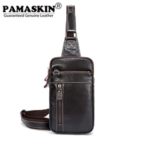 PAMASKIN Premium Real Leather Men Cross Body Chest Bags Brand 2018 New Arrivals Casual Male Messenger