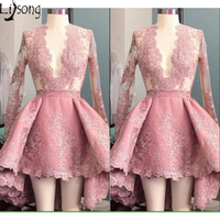 Hot Dusty Pink Prom Dress Mini Hi Low Full Sleeves Womens Special Occasion Party Dress Short