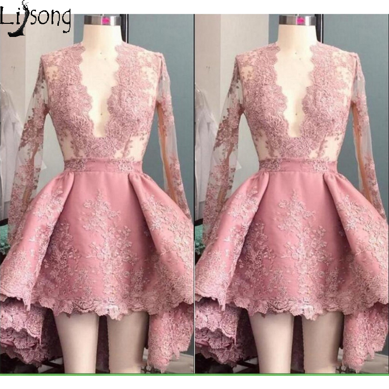 Hot Dusty Pink   Prom     Dress   Mini Hi-low Full Sleeves Womens Special Occasion Party   Dress   Short Gowns Custom Made Lace A-line   Dress