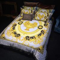 High End Luxury Royal Europe Design Imperial Palace Classic Strip Flower Cotton Printing Branded Bedding Sets