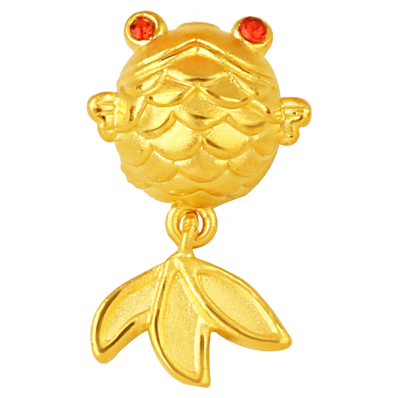 New Arrival Pure 24K Yellow Gold Pendant 3D 999 Gold Fish Pendant pure 24k yellow gold pendant 3d 999 gold fu star pendant 0 91g