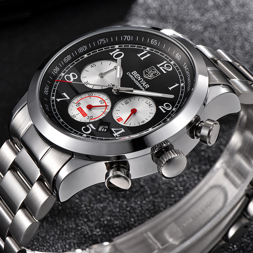Men Watches BENYAR Top Luxury Brand Fashion Chronograph Sport Quartz Stainless Steel Military Watch Clock Men Relogio Masculino стоимость