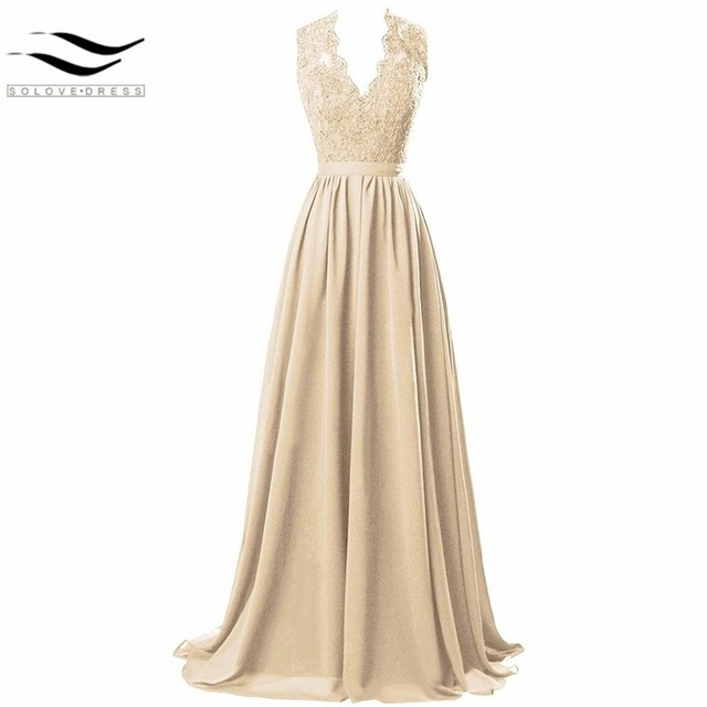 bbc2fbaffe7d4 2017 New Style Women's Modest V Neck Open Back Chiffon Long Evening Gown  with Lace prom dress