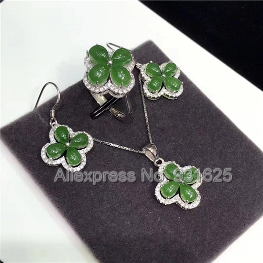 925 silver Natural Green HeTian Yu Beads Inlay Flower Pendant Necklace Dangle Earring ring Set + certificate Fashion Jewelry