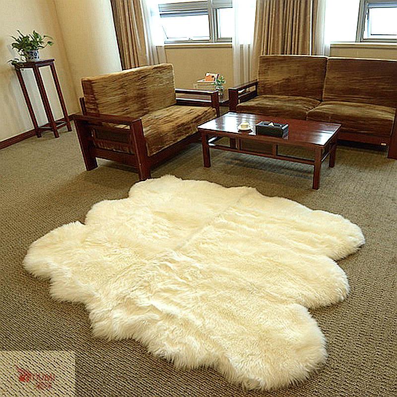 1Piece DUMI Hot Sale Big Size Ivory White 6 Sexto Hotel Home Decoration  Real Nature Merino Sheepskin Carpet Sheepskin Rug 6x6.5