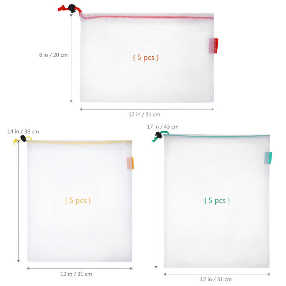 15pcs/lot Reusable Mesh Produce Bags Washable Eco Friendly Bags for Grocery Shopping Storage Fruit Vegetable Food Sundries #sx