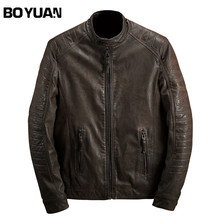 BOYUAN Brand Men PU Leather Jacket 2017 Autumn New Fashion Jackets Men Chaquetas Hombre De Cuero Solid Vintage Male Coat DSW2338