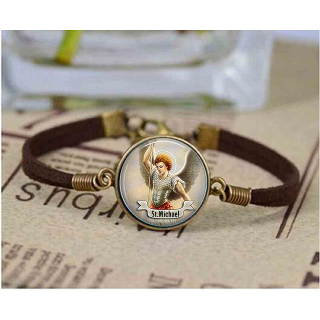 St Michael Bracelet Saint Art Jewelry Gift Religious Religion Cabochon Jewerly