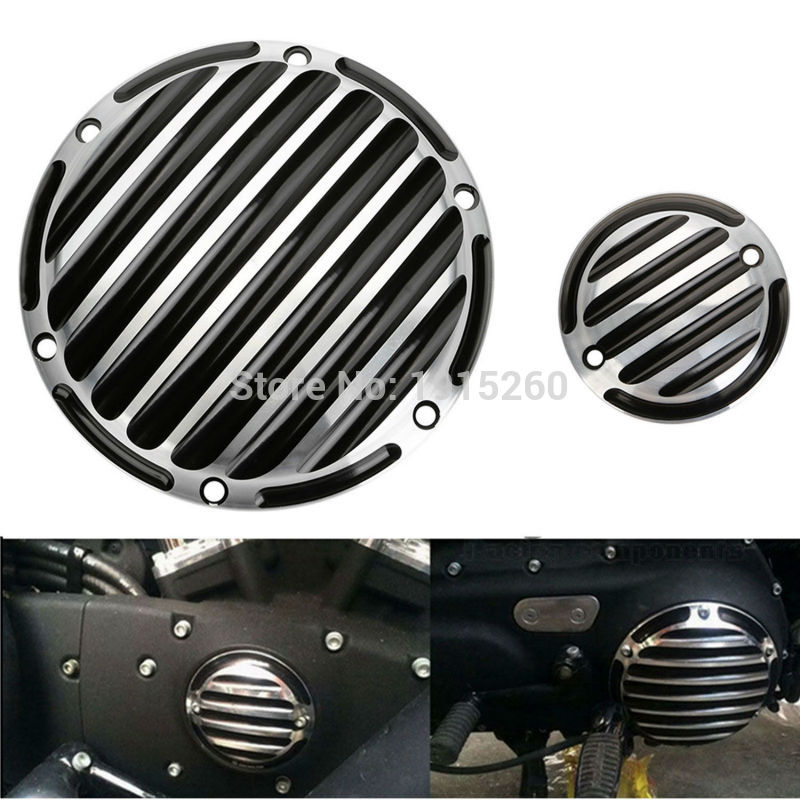 2xCNC Chrome Derby Timing Timer Cover Set For Harley 04-15 Sportster XL 1200 883 mtsooning timing cover and 1 derby cover for harley davidson xlh 883 sportster 1986 2004 xl 883 sportster custom 1998 2008 883l
