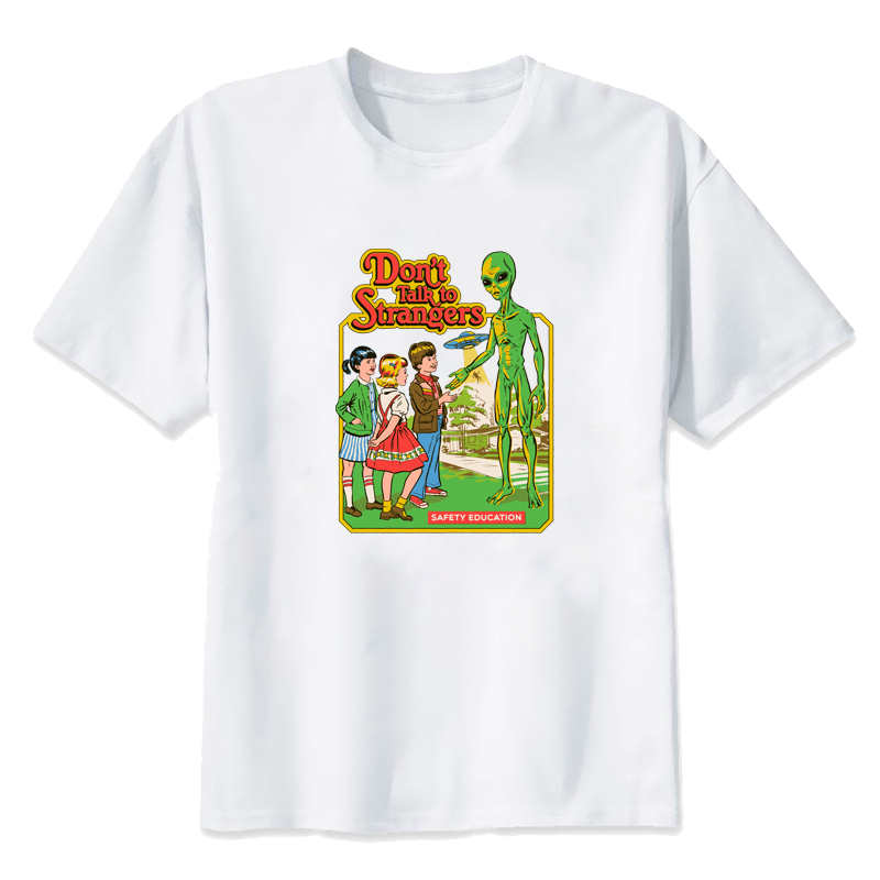 Don't Talk to Strangers T shirts Funny Printed Women tshirts Plus Size Summer Short Sleeved Cute Clothing Harajuku Girl T shirt