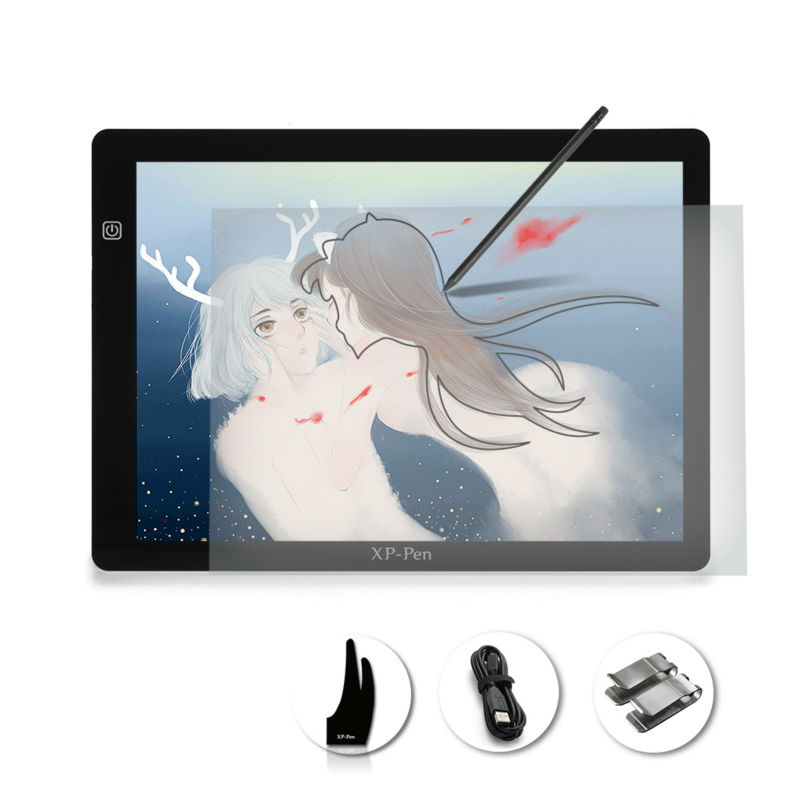 XP-Pen A4S 18 LED Art craft Tracing Light Pad Light Box/ USB Light Table Drawing Tablet with Paper Clips and Anti-fouling Glove
