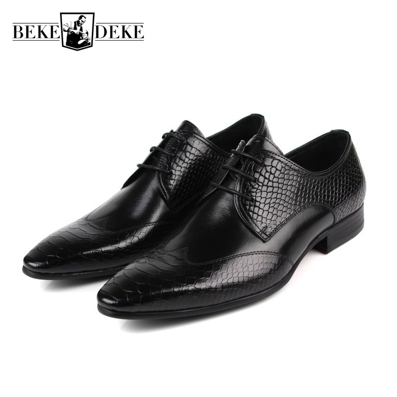 Mens Shoes Dress Sales Genuine Leather Black Brown Fashion Formal Business Male Shoes Classic Pointed Toe Prom Sapato Masculino pointed metal toe mens shoes formal design patchwork men leather shoes with crystal hoops spring autumn sapato masculino social