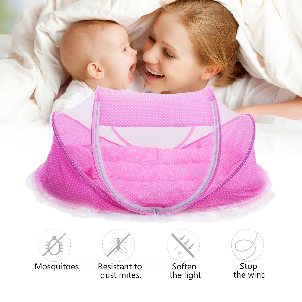 Lowest Price Promotion Cute Baby Crib 4pcs Portable Type Comfortable Babies Pad with Sealed Mosquito Net Baby Mosquito Net baird288 baby stroller wheel shock absorbing baby carrier with mosquito net cotton pad