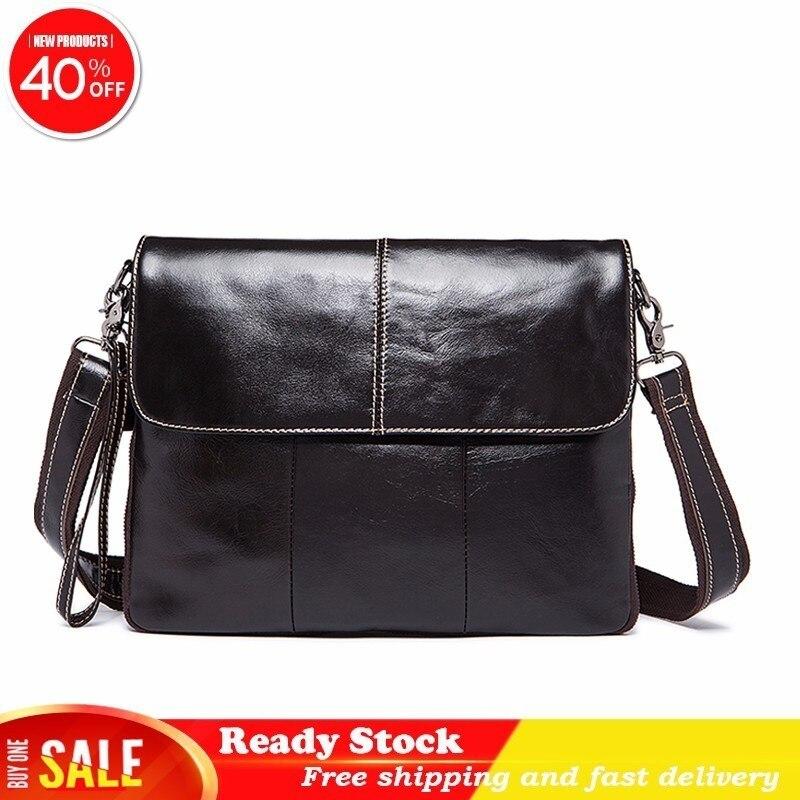 Crossbody Office Bags Men Fashion Messenger Male Genuine Leather Flap Zipper Men's Shoulder Briefcase Computer Luxury Handbags