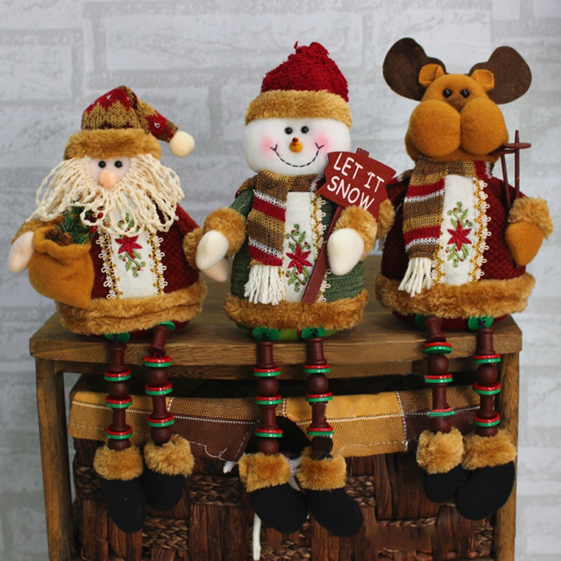 2018 Christmas Tree Decorations Sitting Father Santa Claus Snowman Figure Plush Toy Doll Christmas Party Tree Hanging Decor Home