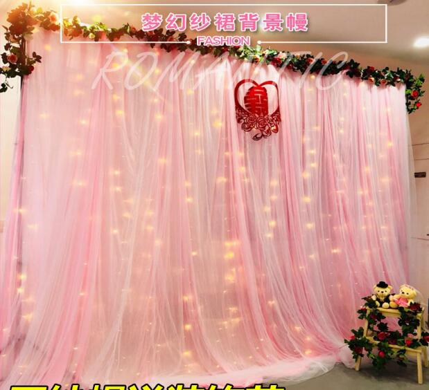 New wedding stage gauze background cloth curtain decoration birthday scene layout saman